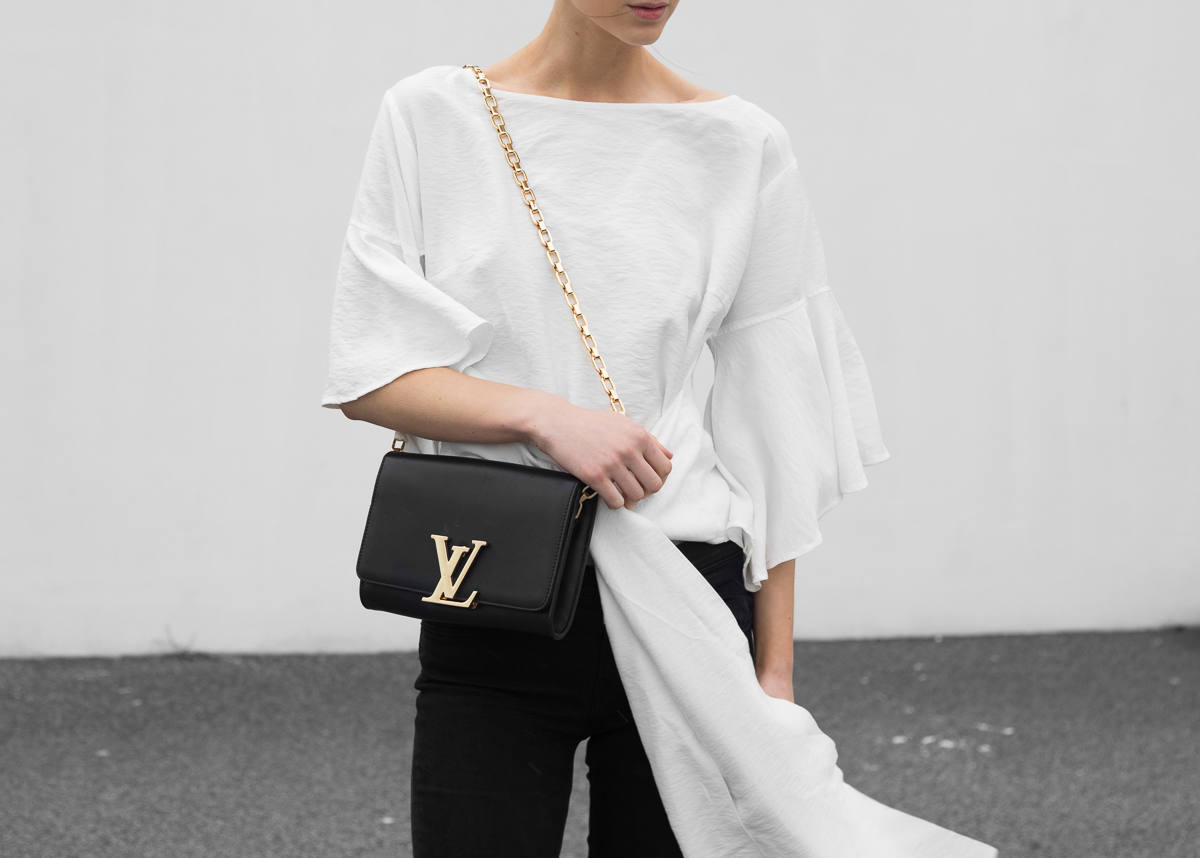 Talulah Wrap Me Up Top Louis Vuitton Chain Louise Bag black