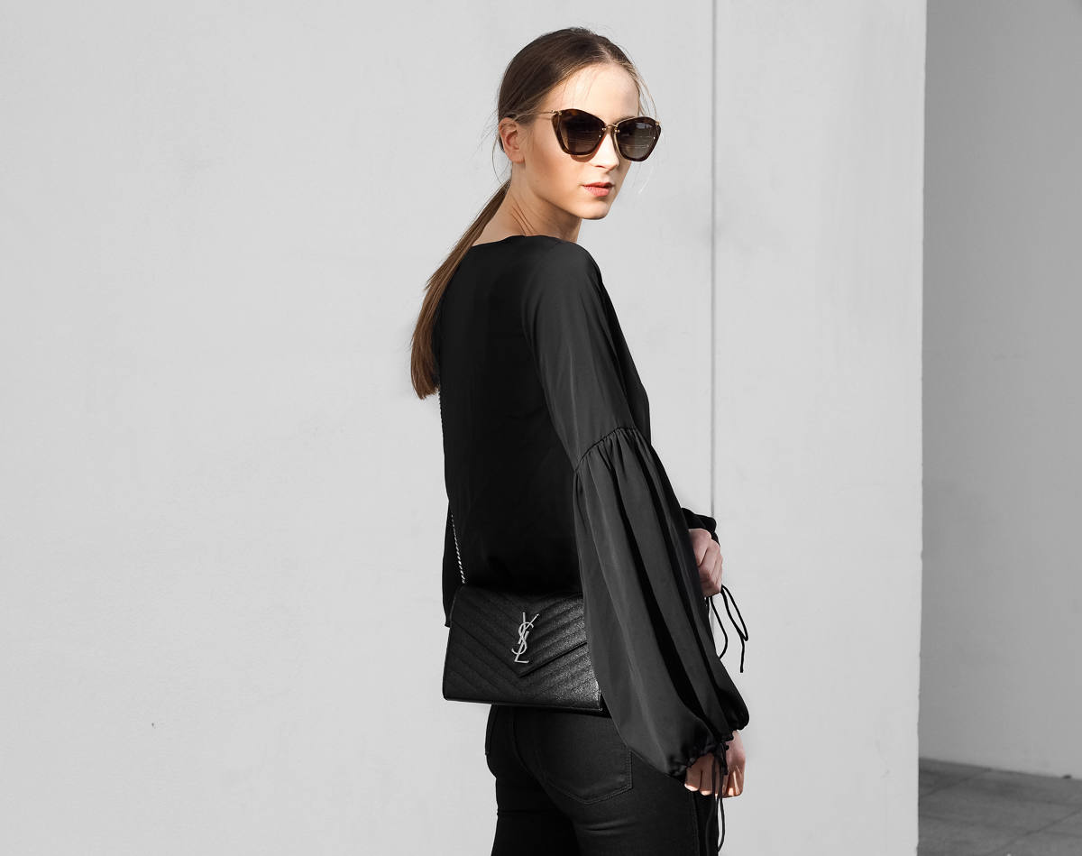 All black outfit Saint Laurent Black Crossbody Bag