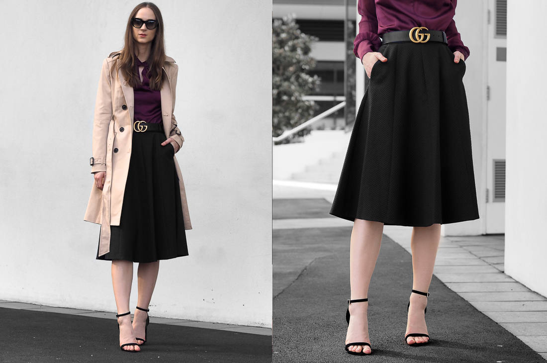 Karen Millen Knot-Neck Top, A-Line Skirt and Classic Trench Coat  outfit