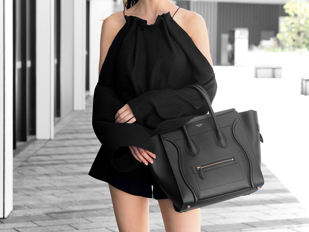 Celine Mini Luggage Bag Black Outfit Fashion Blogger