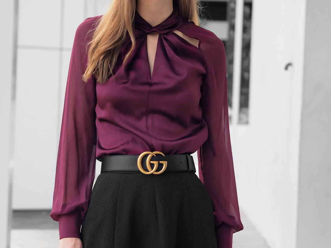 Karen Millen Knot-Neck Top Gucci belt outfit