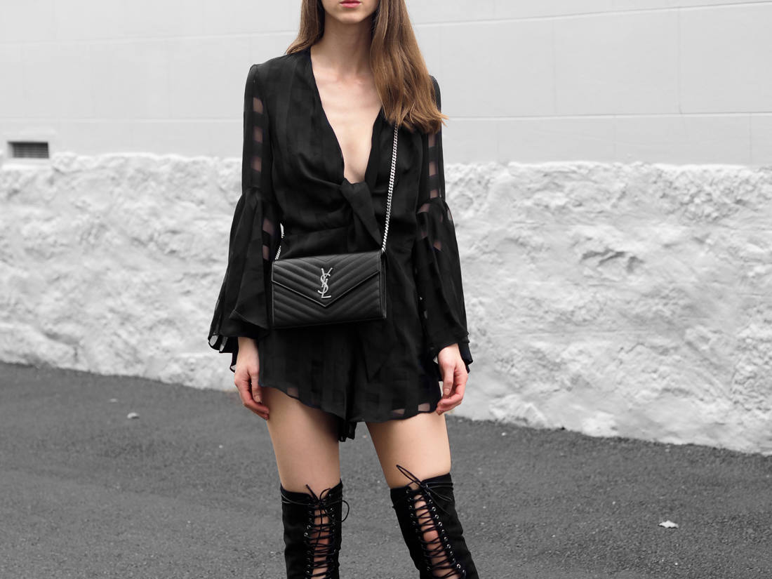 Shona Joy Perseus Playsuit Billini Bardot Boots Fashion Blog