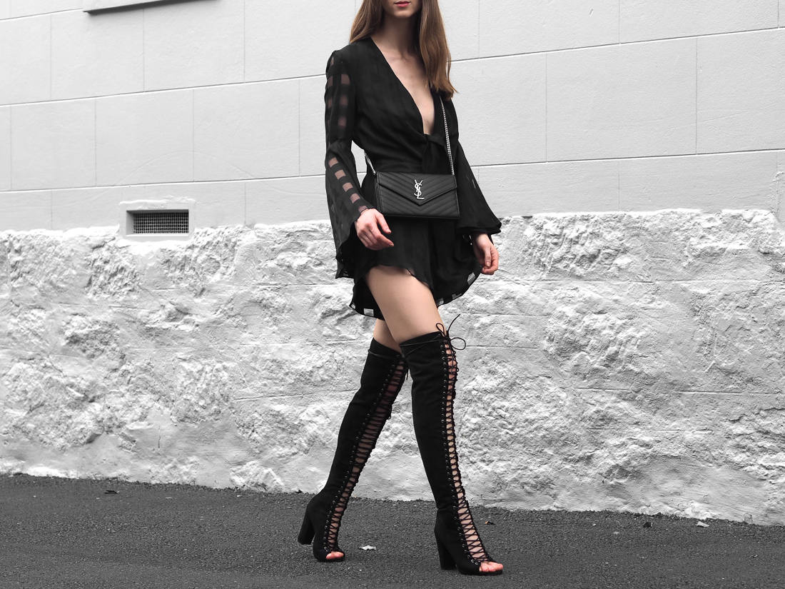 Shona Joy Perseus Playsuit Billini Bardot Boots From Luxe With Love