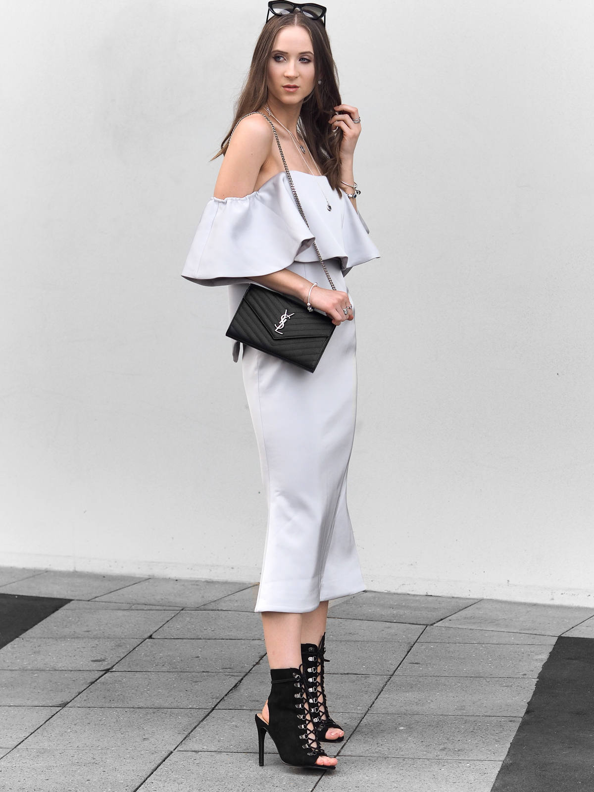 Talulah Without You Midi Dress Billini Carven Heels Saint Laurent clutch